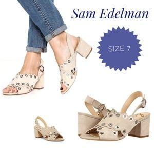SAM EDELMAN Tan Leather Seana Heel Sandals Sz 7